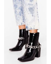 Nasty Gal Chain Croc Embossed Heeled Boots - Black