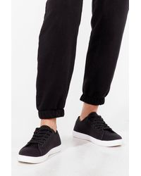Nasty Gal Lace Take It Slow Canvas Trainers - Black