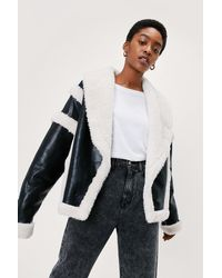 Nasty Gal Faux Fur Lined Faux Leather Aviator Jacket - Black