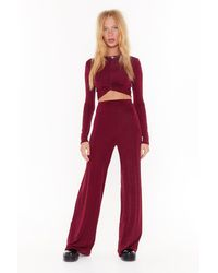 Nasty Gal I'm Knot Kidding Crop Top And Trousers Set - Red