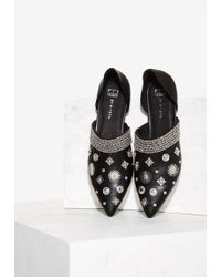 E8 Denzel Embellished Leather Flat - Black