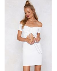 6497d62960a9 Nasty Gal - Mad Ruche Off-the-shoulder Dress - Lyst