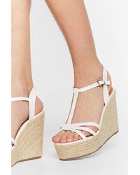 Nasty Gal Woven Strappy Wedges - White