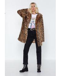 "Nasty Gal ""leopard Faux Fur Coat With Notched Lapels"" - Multicolour"