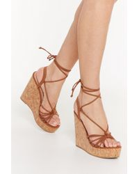 """Nasty Gal """"let's Cork About Love Lace-up Wedge Sandals"""" - Brown"""