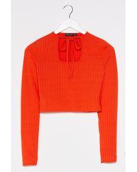 Nasty Gal Tie It Out Ribbed Crop Top - Orange