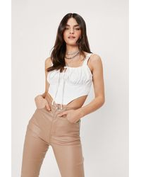 Nasty Gal Lace Up Woven Ruched Corset Top - White