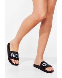 Nasty Gal Oh Fuck Off Sequin Moulded Sliders - White
