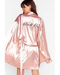 Nasty Gal It Was All A Dream Satin Embroidered Robe - Pink