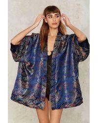 Jaded London Ren Reversible Jacquard Kimono - Blue