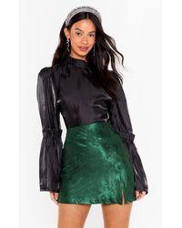 Nasty Gal Tell Slit Like It Is Satin Jacquard Mini Skirt - Green