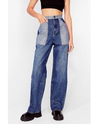 Nasty Gal Patch Things Up Two-tone Wide-leg Jeans - Blue