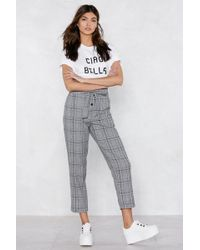 Nasty Gal - Can't Tie Me Down Check Pants - Lyst