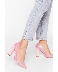 Nasty Gal Clear Almond Block Court Heels - Pink