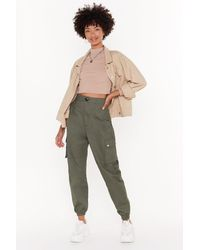 Nasty Gal High-waisted Utility Trousers With Zip Closure - Green