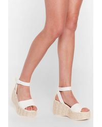 Nasty Gal Woven Right Platform Wedge Sandals - White