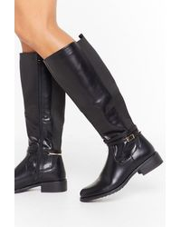 """Nasty Gal """"just Ride It Out Faux Leather Knee-high Boots"""" - Black"""