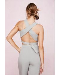 Nasty Gal High Neck Crossover Strap Crop Top - Green