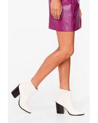 Nasty Gal - Block Heel Pointed Toe Western Boots - Lyst