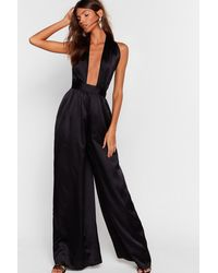 Nasty Gal For Limelight Stealing Satin Halter Jumpsuit - Black