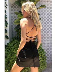Nasty Gal Dressing Gown Courte En Satin À Lacer Au Dos - Noir