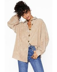 "Nasty Gal ""big Cord And Beautiful Oversized Shirt"" - Natural"