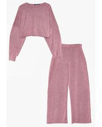 Nasty Gal You And I Plus Ribbed Top And Trousers Set - Pink
