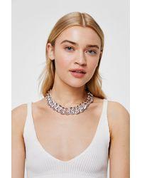 Nasty Gal Chunky Curb Chain Necklace - Métallisé