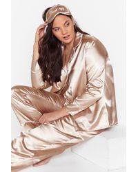 Nasty Gal Plus Size 3 Piece Satin Pyjama Trousers Set - Multicolour