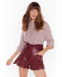 """Nasty Gal """"high-waisted Faux Leather Belted Shorts"""" - Red"""