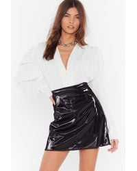 "Nasty Gal ""your Vinyl Warning High-waisted Mini Skirt"" - Black"