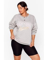 Nasty Gal Meet Us On The West Coast Plus Graphic Sweatshirt - Gray