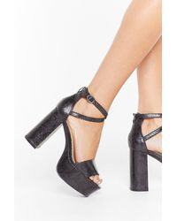 """Nasty Gal """"snake It To The Limit Faux Leather Platform Heels"""" - Black"""