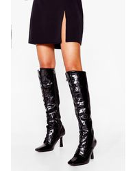 Nasty Gal Croc Lace Up Knee High Boots - Black