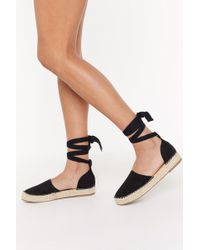 """Nasty Gal """"contrast Stitch Thick Ankle Tie Espadrilles"""" - Black"""