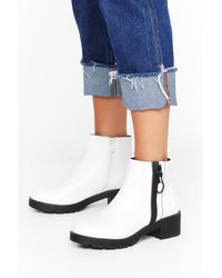 "Nasty Gal ""one Way Zip Faux Leather Boots"" - White"