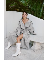 Nasty Gal Faux Leather Oversized Belted Trench Coat - Grey