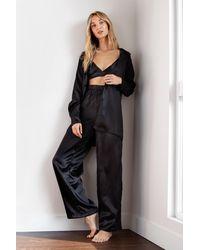 Nasty Gal Satin 3 Pc Oversized Pyjama Shirt And Trousers Set - Black