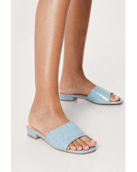 Nasty Gal - Faux Leather Croc Open Toe Flat Sandals - Lyst