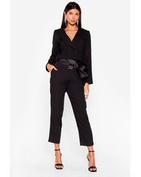 Nasty Gal Belted Bow Blazer And Trousers Set - Black