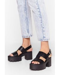 """Nasty Gal """"raise The Roof Cleated Platform Sandals"""" - Black"""