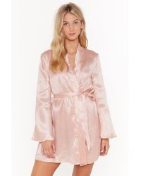 """Nasty Gal """"in For The Night Satin Jacquard Robe"""" - Multicolour"""