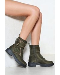 Nasty Gal - Toughen Up Faux Suede Boot - Lyst