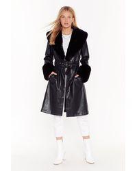 "Nasty Gal ""i'm That Girl Faux Fur Collar Trench Coat"" - Black"