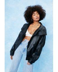 Nasty Gal Oversized Drop Sleeve Faux Leather Jacket - Black