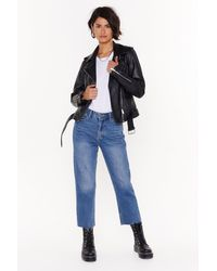 Nasty Gal Cut Straight To The Point Cropped Denim Jeans - Blue