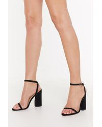 "Nasty Gal ""new Kid On The Block Faux Suede Strappy Sandals"" - Black"