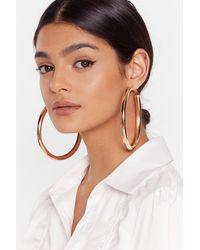 """Nasty Gal """"over It Oversized Hoop Earrings"""" - Metallic"""