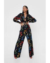 Nasty Gal Pantalon large taille haute à imprimé fleuri - Noir
