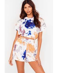 Nasty Gal Friday I'm In Love Tie Dye Hoodie And Shorts Set - White